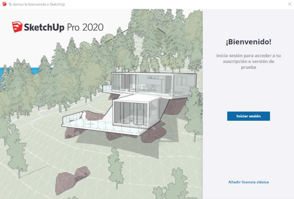 Interfaz de bienvenida Sketchup 2020