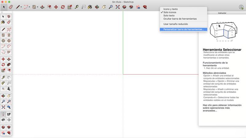 Barra de herramientas en Sketchup Mac OSX