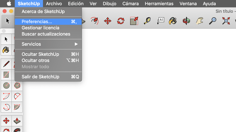 Preferencias en Sketchup Mac OSX