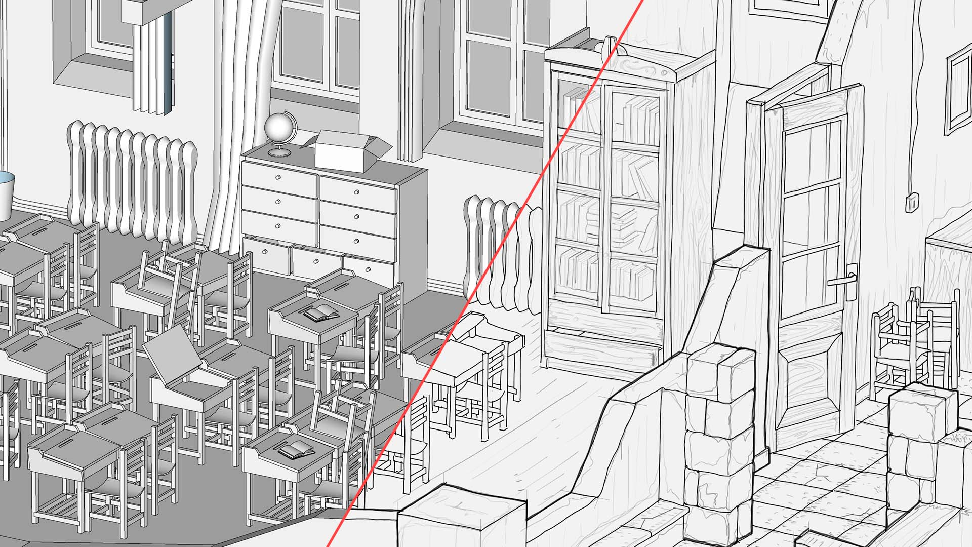 Ye Old Classroom · 3D + Lines
